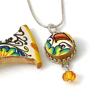 Deruta Pottery, Broken China Jewelry, Italian Pottery, Sterling Silver Pendant Necklace, OOAK, Swarovski Crystal,  Gift for Her