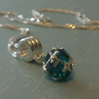 "Crystal Charm Necklace - Aquamarine Crystal Dangle Charm on a 24"" Long Sterling Silver Ripple Chain"