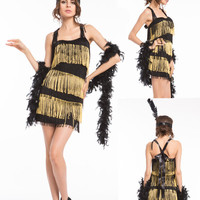 Hot 1920s 20s gold /purple /pink/red/black/gray Flapper Costume Charleston Dress Outfit halloween costume size s-2xl Free pp