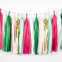 Jingle Bell Rock Tassel Garland - Pink, Green, Mint, Gold Christmas Tissue Paper Tassel Garland - Christmas Decor // Holiday Decoration