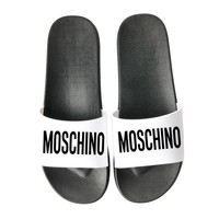 MOSCHINO New slippers fight color fashion thick bottom slippers Black White