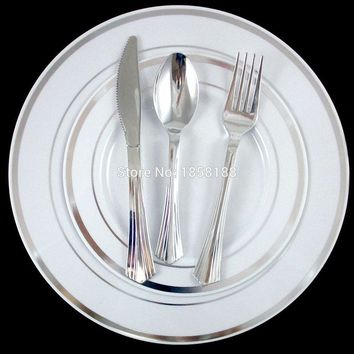 60 People Dinner Wedding Tableware Disposable Plastic Plates Silverware Rim Silver Cutlery Party Decorations