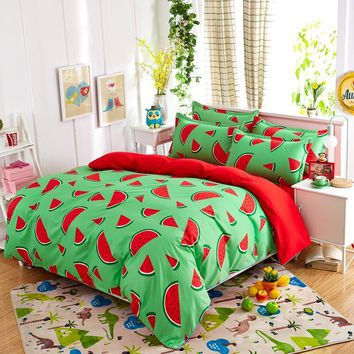 New fashion bedding sets Watermelon banana fruit bed sheet quilt duvet cover pillowcase soft comfortable king Queen Full size