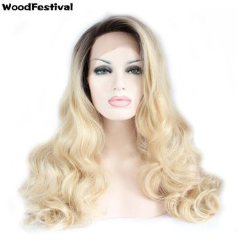 WoodFestival women dark roots blonde hair long synthetic lace front wig heat resistant 26 inches blonde ombre wig cosplay