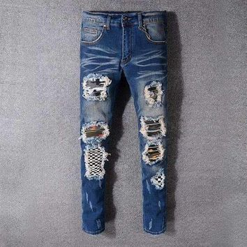Style 521 Fear Of Godmens Distressed Embellished Ribbed Stretch Moto Pants Biker Jeans Slim Trousers Size 28 42