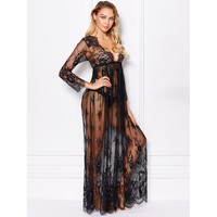 Maxi Floral Lace Dress With Thong BLACK
