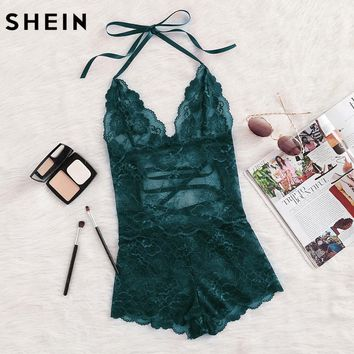 SHEIN Onesuit Women Sleepwear Green Tie Up Back Halter Neck Lace Sleep Romper Backless Lace Up Sexy Womens Onesuits