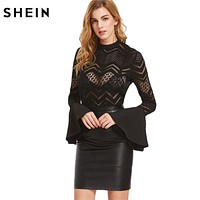 Elegant Women Tops and Blouses Sexy Women Clothes Black Button Back Flare Sleeve Sheer Chevron Blouse