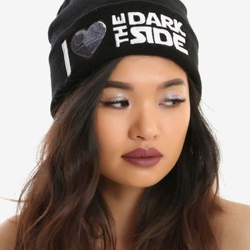 Licensed cool Star Wars Disney I Heart Love The Dark Side Knit Watchman Beanie Hat Ski Cap NWT