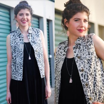 Taupe Animal Print Vest
