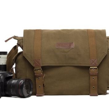 BLUESEBE UNISEX WAXED CANVAS DSLR CAMERA MESSENGER BAG F1001-AG
