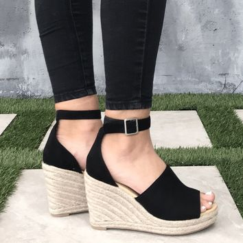 Adalyn Espadrille Black Platform Wedges in Black