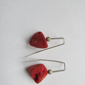 Minimalist Coral silver earrings-RAW Rough Bohemian hippie chic beachie red contemporary natural unique handmade Geometric silver jewelry