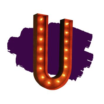 """36"""" Letter U Lighted Vintage Marquee Letters (Rustic)"""