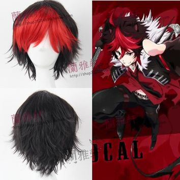 Show By Rock!! Crow Short Black Hair Red Bangs Wig Cosplay Wig Heat Resistant Fibre + Wig Cap