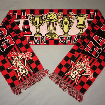 Sale!! Vintage AC MILAN Italy Soccer Scarf Football Jersey shirt