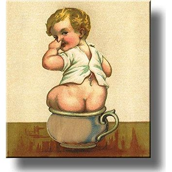 Boy on Chamber Pot Potty Seat Bathroom Picture Made on Stretched Canvas, Wall Art Decor Ready to Hang!.