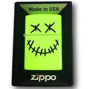 Zippo Custom Lighter - Stitched Skull Face - Neon Yellow Finish 28887-CI404191