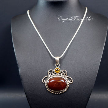 Carnelian Necklace -  Sterling Silver Large Red Carnelian Necklace  Vintage Gemstone Antique Gemstone Necklace  Root Chakra Healing