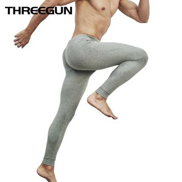THREEGUN Winter Warm Long Johns Underwear Brand Cotton Thermal Bottoms thermo Underwear Male Home Underwear Sexy Hot Sleepwear