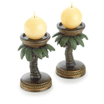 COCONUT TREE CANDLEHOLDERS