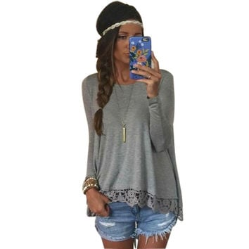 Women Long Sleeve Casual Tops T-Shirt Hollow Out Lace Bottom