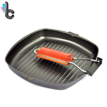 Cast Iron Folding Portable Steak Frying Pan Thickened non-stick Grill Pan BBQ Barbecue Plates Cookware Outdoor Camping Picnic