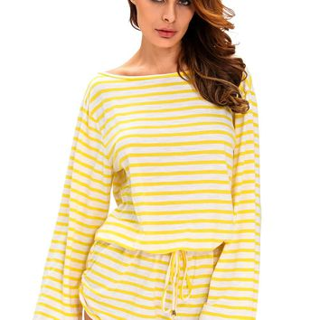 Chicloth Yellow White Batwing Stripe Cover-Up Romper