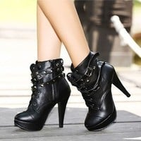 Fashion Platform Pump Stiletto High Heels Rivet Strap Lace-Up Ankle Boots Shoes