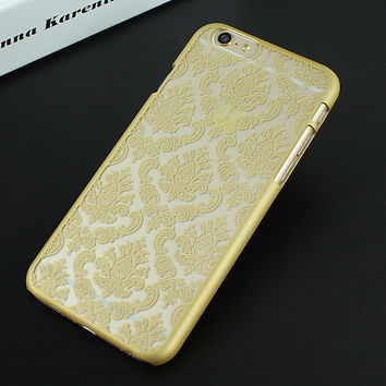 Gold Luxury Hard Plastic Damask Vintage Flower Pattern Back Case Cover for iPhone 4 4s 5 5s SE 6 6s 6 Plus 6s Plus 7 & 7 Plus