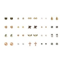 Mixed Metal Moon, Stars and Hearts Stud Earrings Set of 20  | Claire's