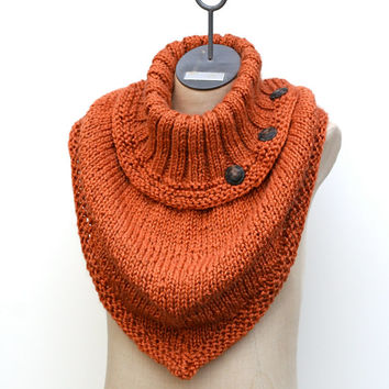 Ready to Ship: Burnt Orange Hand Knitted Oversized Infinity Bandana Cowl Scarf Shawl in Alpaca Blend Yarn with Decorative Buttons