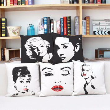 Retro Sexy Cartoon Audrey Hepburn Marilyn Monroe Cover Throw Cotton Linen Pillow Case Home Decorative Free Shipping