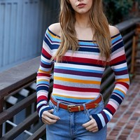 Kendall and Kylie Long Sleeve Off-The-Shoulder Sweater at PacSun.com