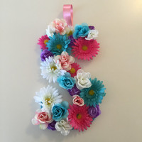 Floral Flower Letter- Custom Made to order- Initial- Wall Hanger-Photo Prop- Wedding- Baby Shower- Home Decor- Nursery