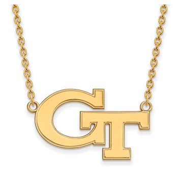 NCAA 14k Yellow Gold Georgia Technology Large Pendant Necklace