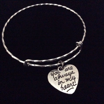 You Are Always in My Heart Silver Expandable Charm Bracelet Adjustable Bangle Double Sided Heart Best Friends Gift