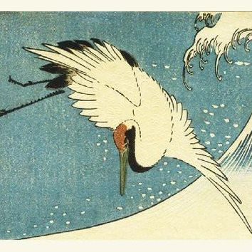The Crane Above the Wave by Japanese artist Utagawa Hiroshige Counted Cross Stitch or Counted Needlepoint Pattern