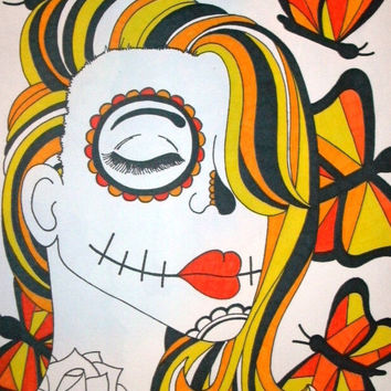 Yellow Butterflies Sugar Skull Girl Drawing Sharpie 9x12 Drawing, Day of the Dead Art, Dia De Los Muertos, Alternative Gift Ide