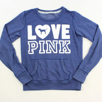 Victoria's Secret PINK Blue Crew Neck Sweatshirt - Misses X-Small