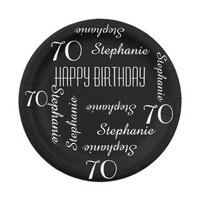 Black and White 70th Birthday Party Repeating Name Paper Plate