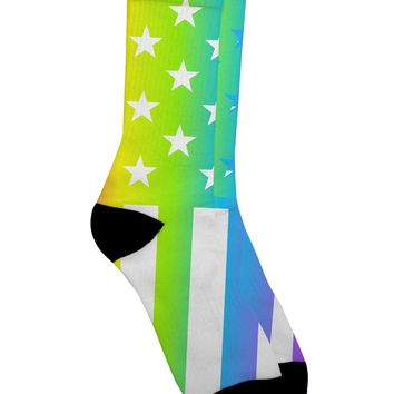 American Pride - Rainbow Stars and Stripes Adult Crew Socks All Over Print