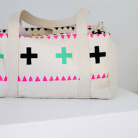 Canvas hand stenciled weekender duffel bag
