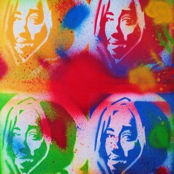 tupac v warhol painting on canvas,pop art,stencils & spraypaints,hip hop,rap,legend,music,2pac,outlaw,living,home,america,urban,westcoast
