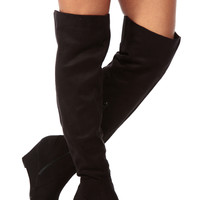 Black Faux Suede Over the Knee Wedge Boots