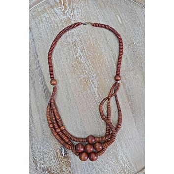 Vintage Handmade  Wooden Layer Necklace