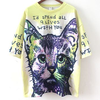Puss color printed sequinned beaded loose-fitting short-sleeved T-shirt F0366-1 Yellow