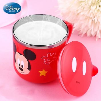 Disney children's Water Cup With Lid Drink Mug for Children Milk Cup Stainless Steel Kids Mug Mickey Mouse Minnie Cute Cup 290ml