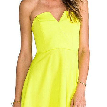 Yellow Strapless Zippered Mini Dress