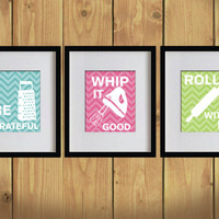 Kitchen Art Print - Chevron, Baking Utensils, Zigzag Stripes - Set of 3 - 8X10 - White, Bondi Blue, Hot Pink, Apple Green - No. KB008-2